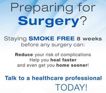 Banner stating the benefits of not smoking for 8 weeks before surgery